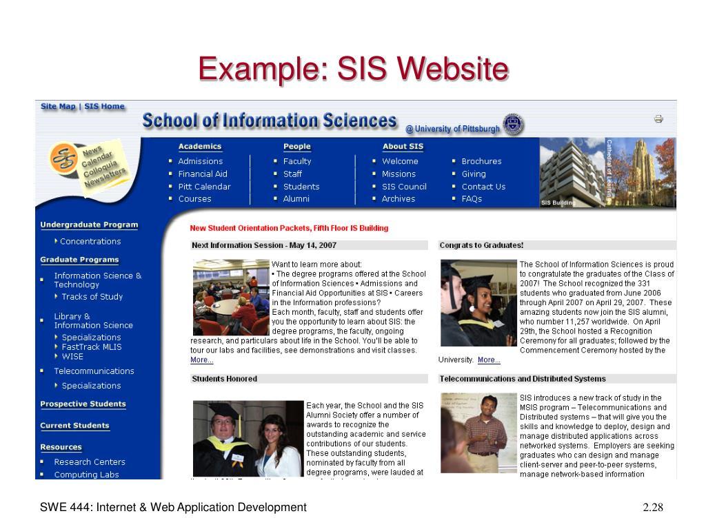 Example: SIS Website