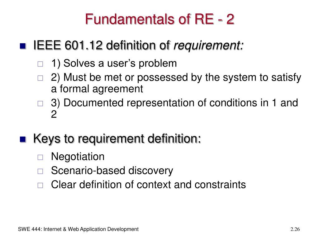 Fundamentals of RE - 2