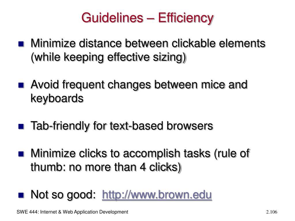 Guidelines – Efficiency
