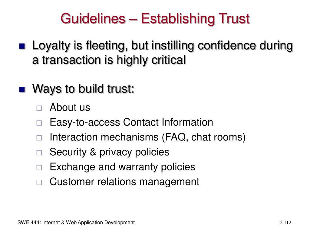 Guidelines – Establishing Trust