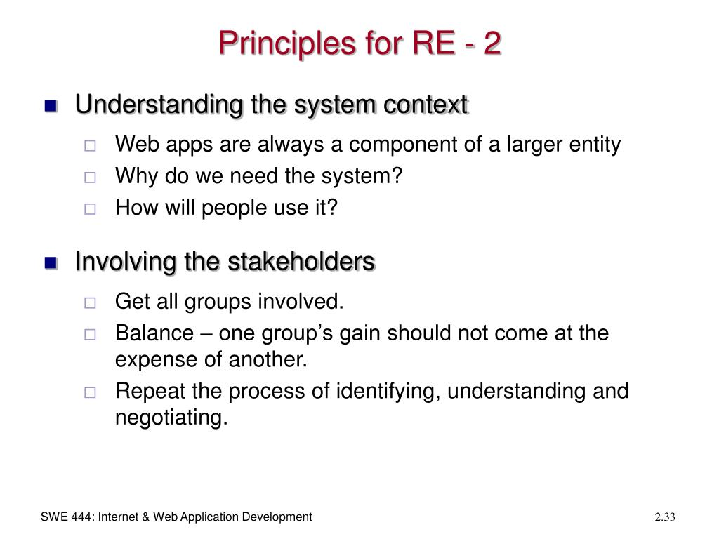 Principles for RE - 2