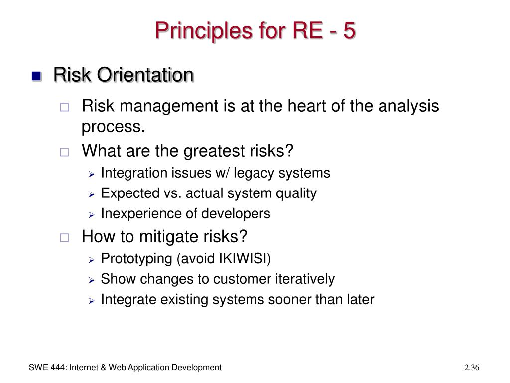 Principles for RE - 5