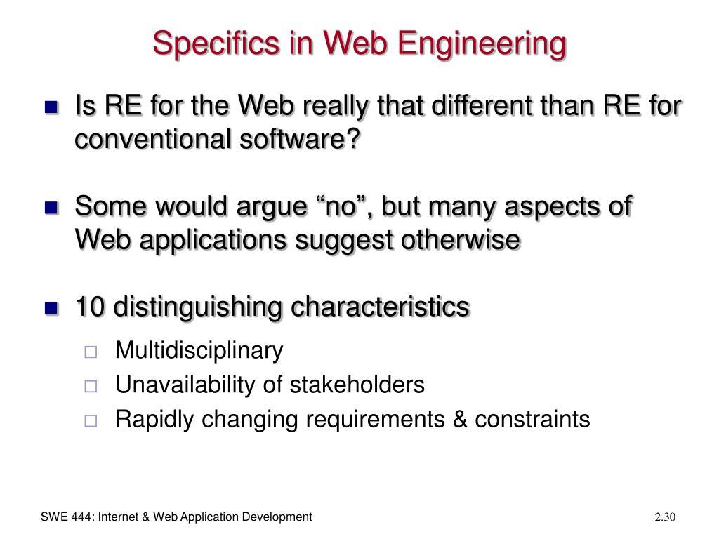 Specifics in Web Engineering