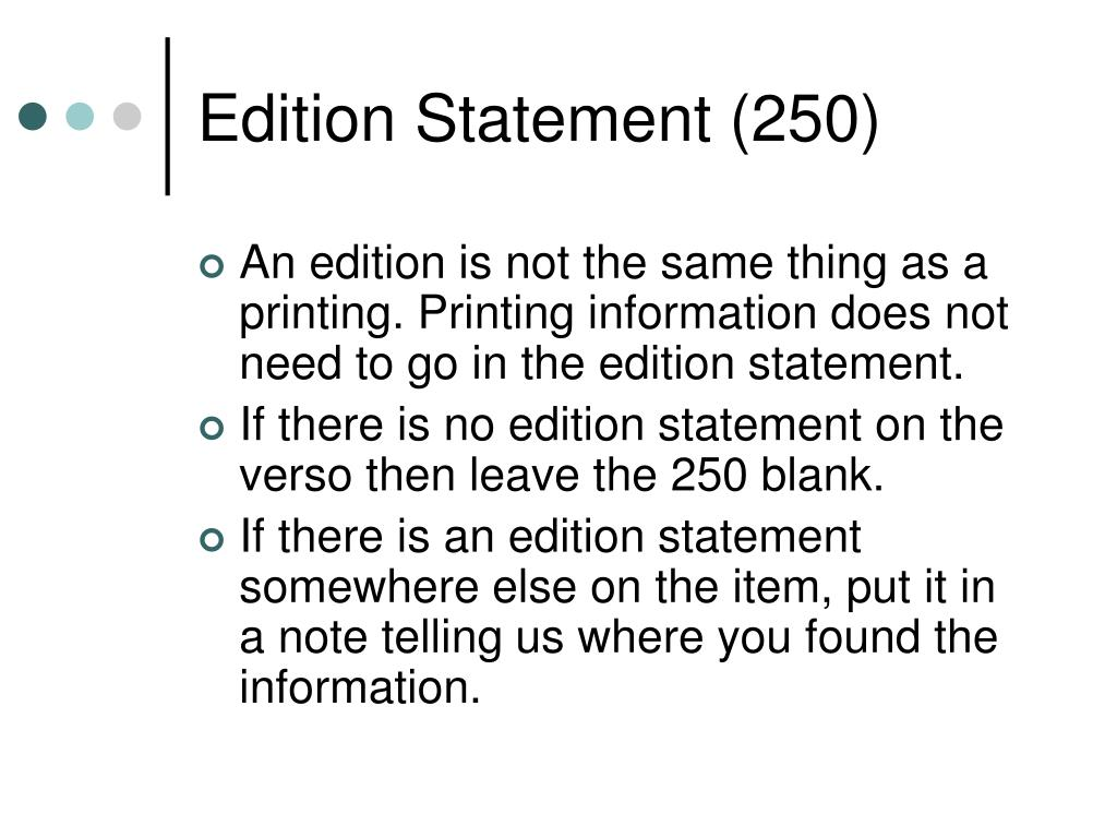 Edition Statement (250)
