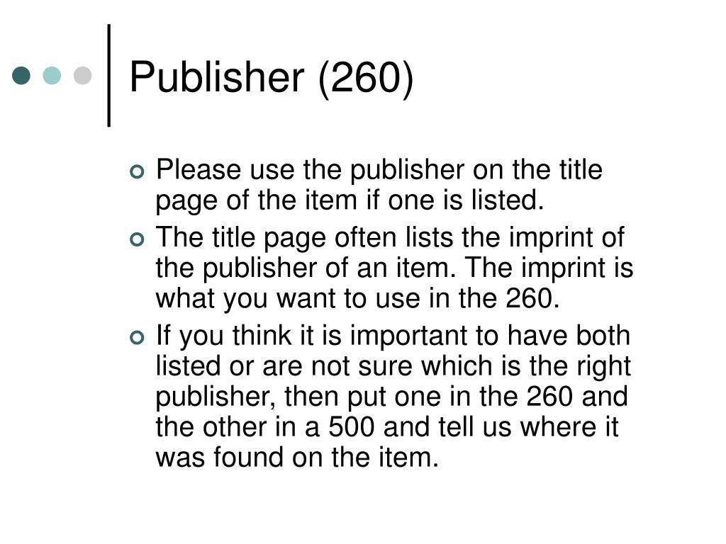 Publisher (260)
