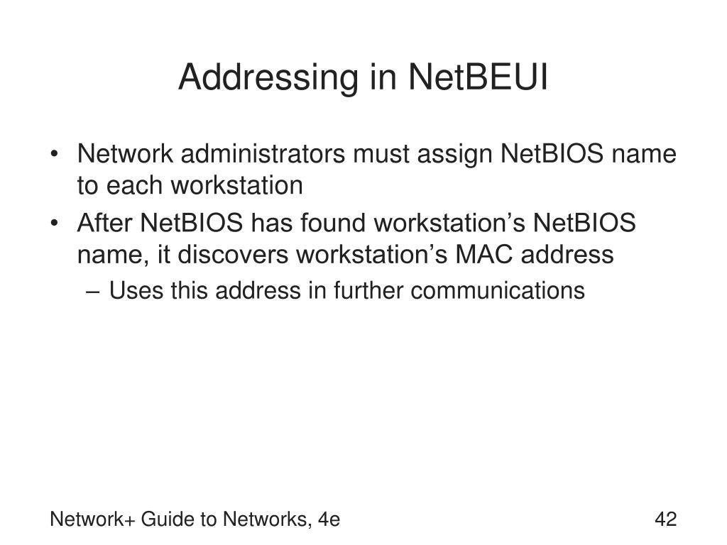 Addressing in NetBEUI