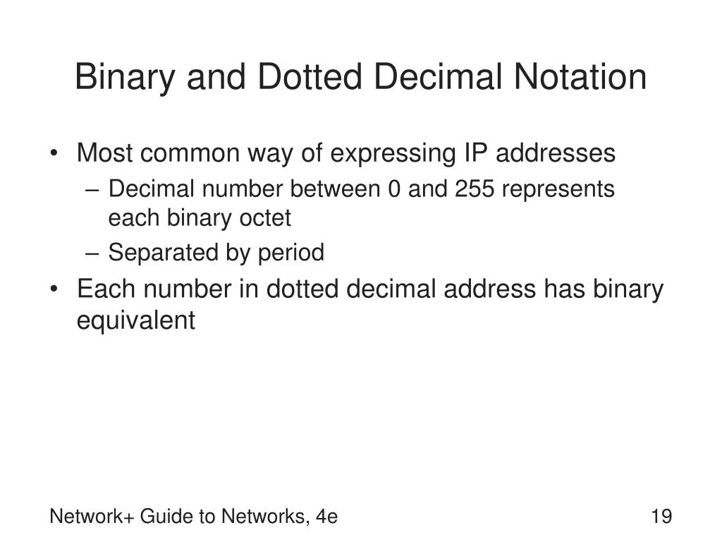 Binary and Dotted Decimal Notation