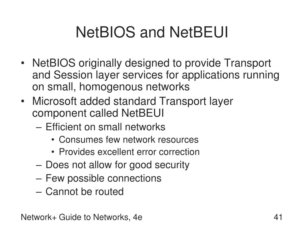 NetBIOS and NetBEUI