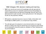 m e linkages km decision making and learning