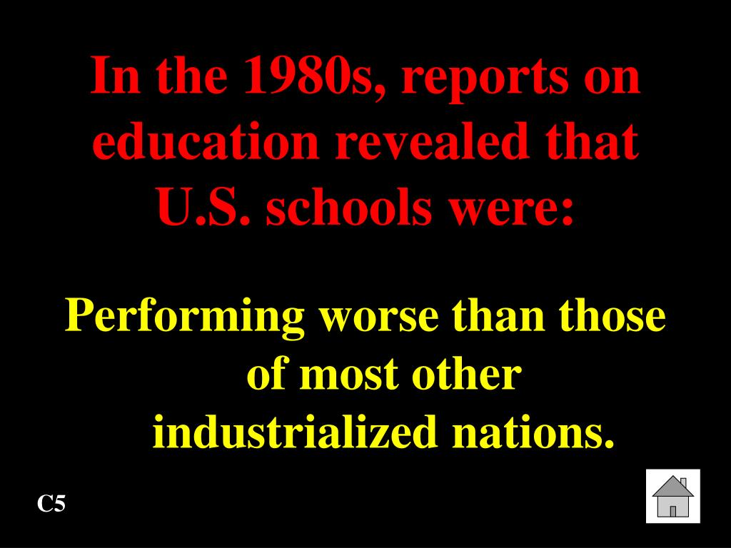 In the 1980s, reports on education revealed that U.S. schools were: