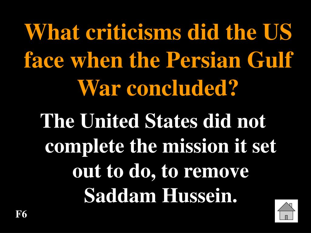 What criticisms did the US face when the Persian Gulf War concluded?