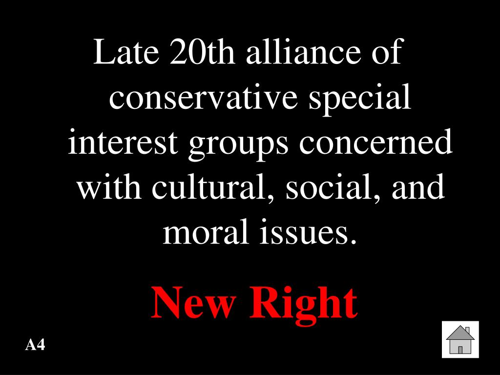 Late 20th alliance of conservative special interest groups concerned with cultural, social, and moral issues.