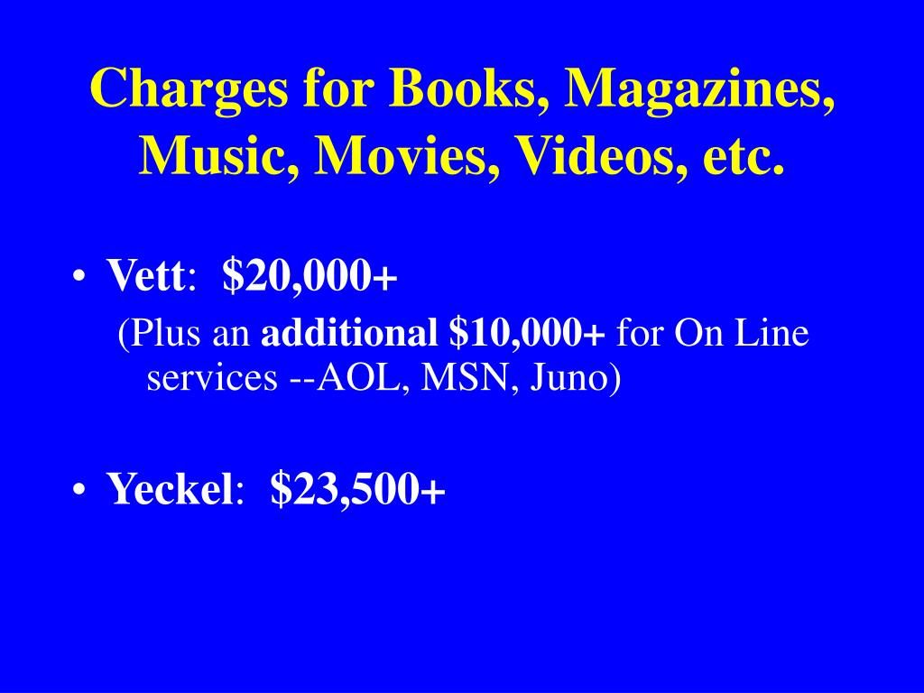 Charges for Books, Magazines, Music, Movies, Videos, etc.
