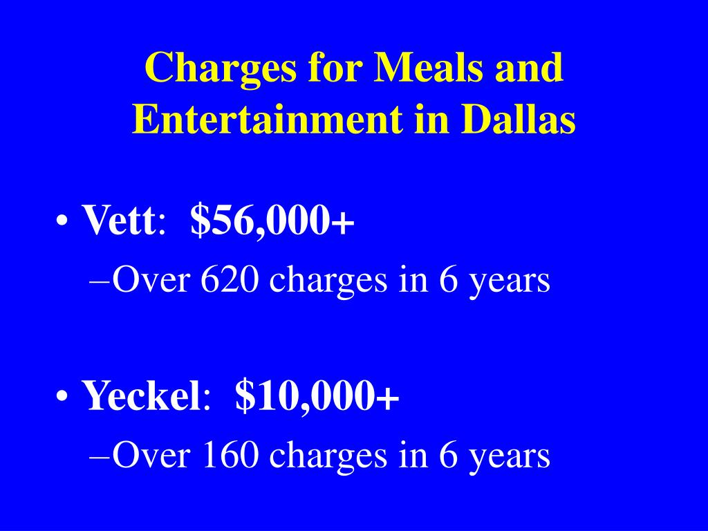 Charges for Meals and Entertainment in Dallas