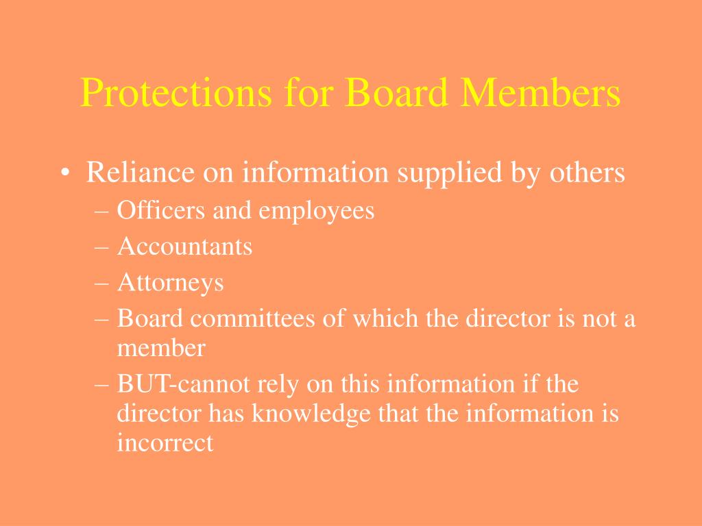 Protections for Board Members