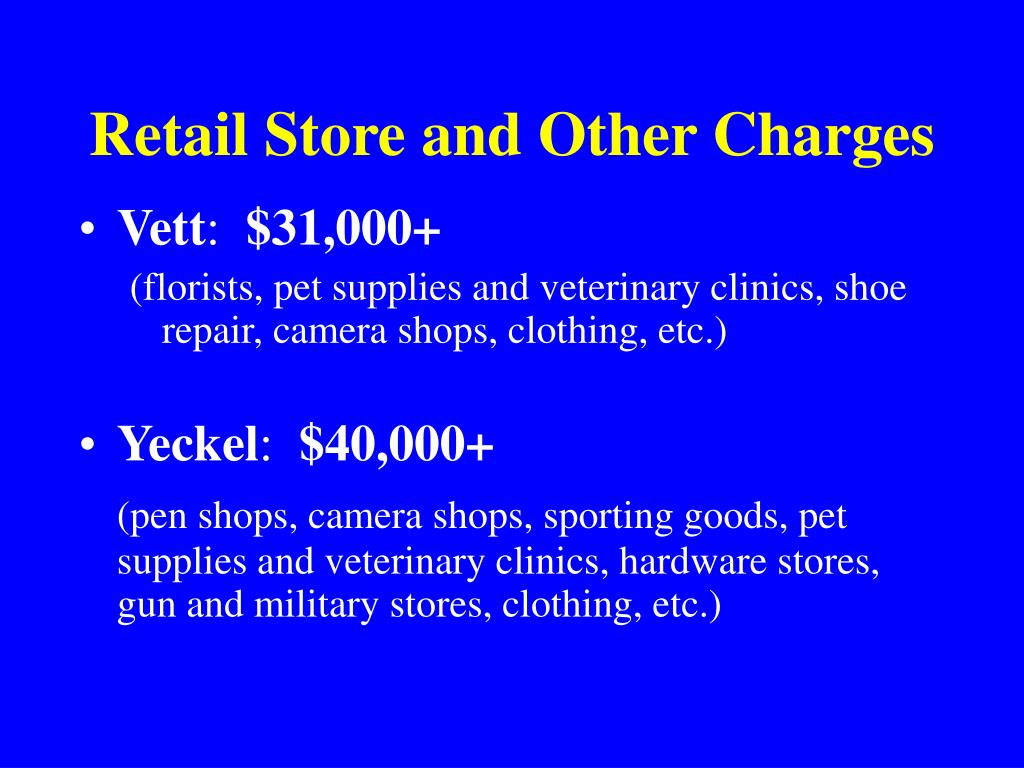 Retail Store and Other Charges