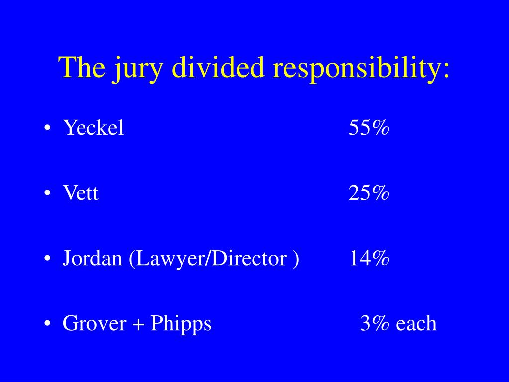 The jury divided responsibility: