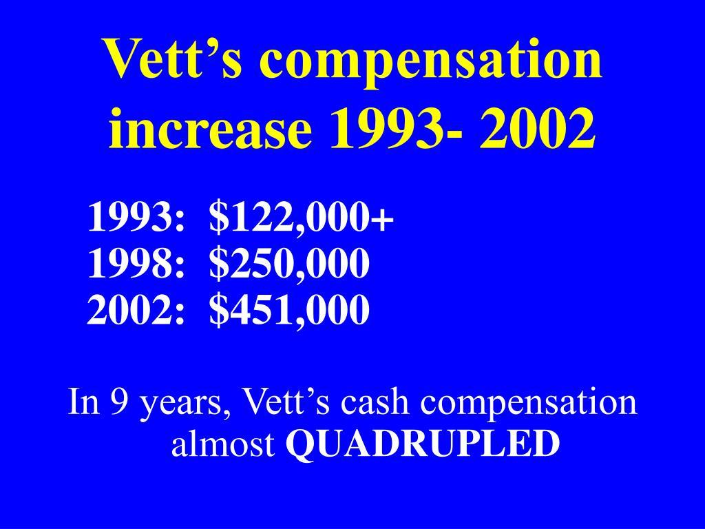 Vett's compensation increase 1993- 2002