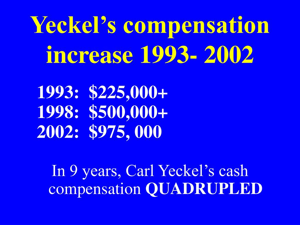 Yeckel's compensation increase 1993- 2002
