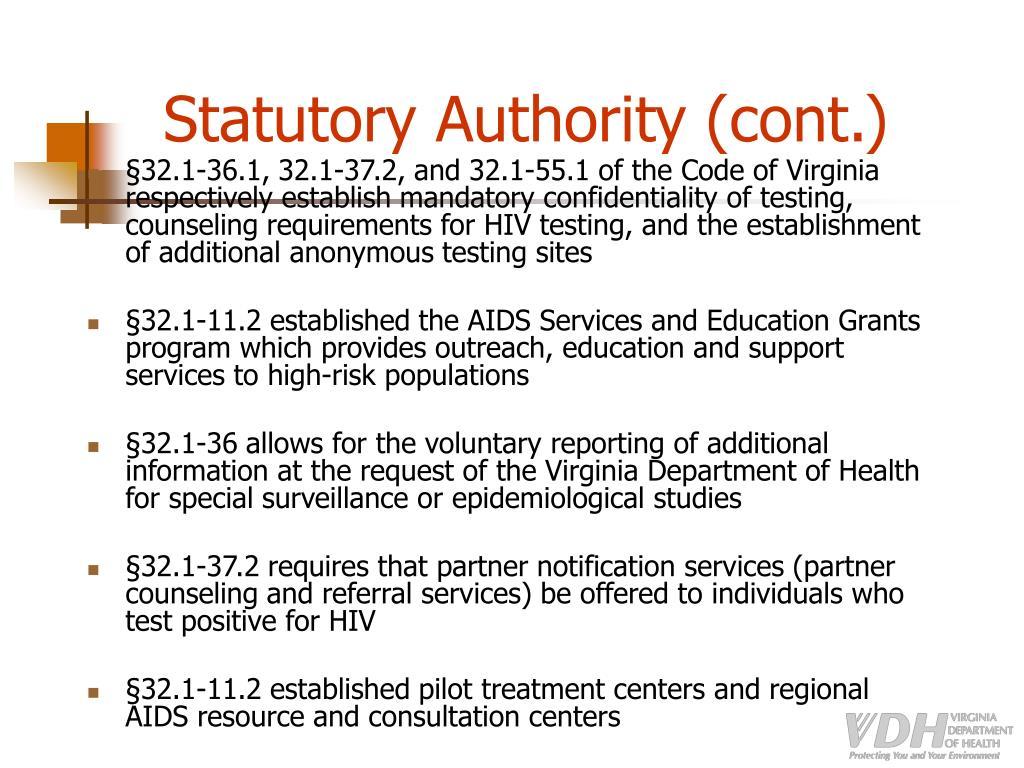Statutory Authority (cont.)