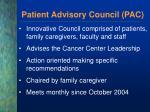 patient advisory council pac