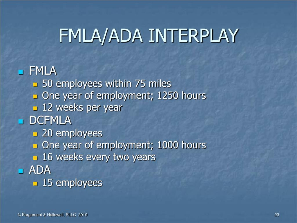 FMLA/ADA INTERPLAY