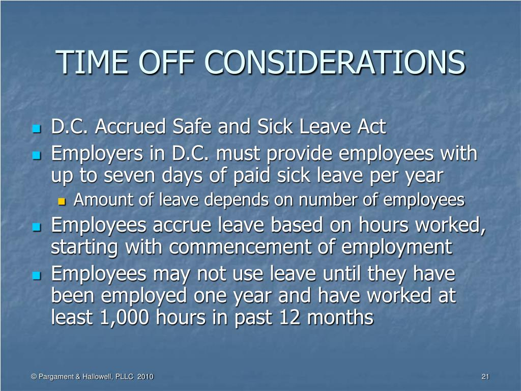 TIME OFF CONSIDERATIONS
