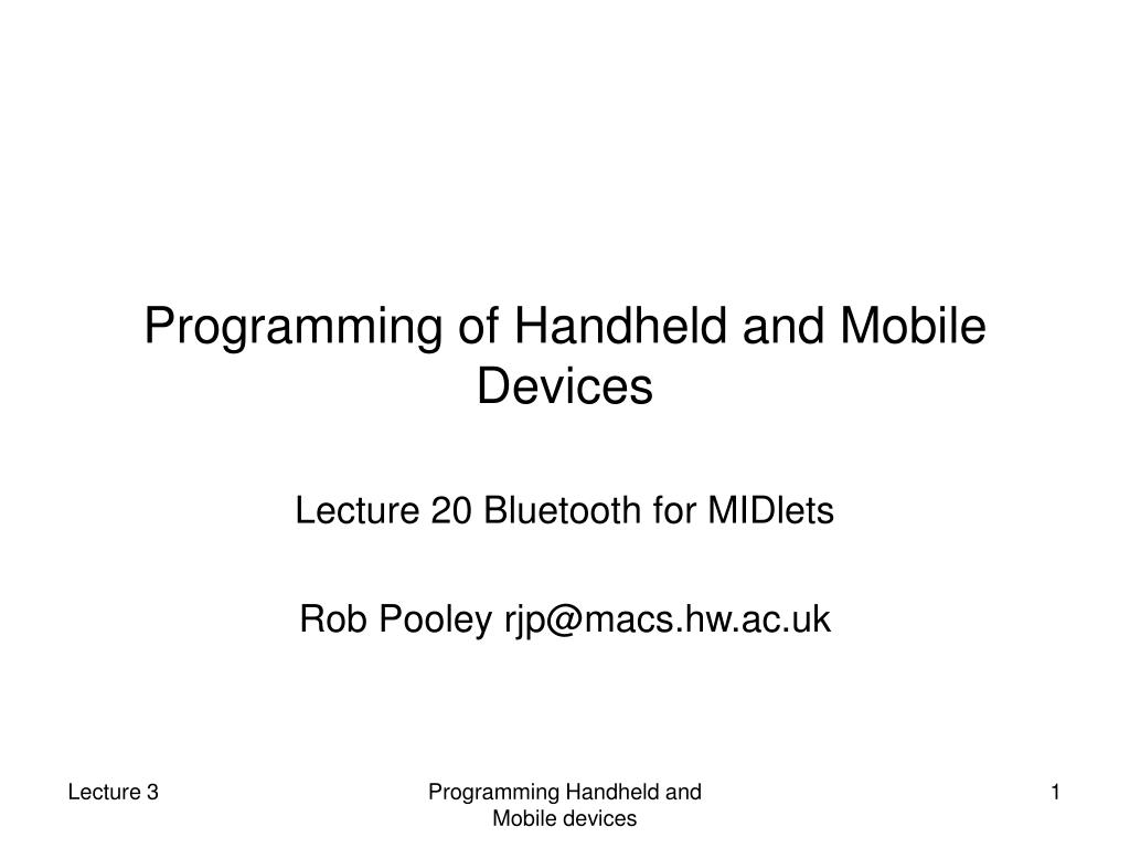 programming of handheld and mobile devices l.