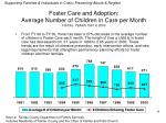 foster care and adoption average number of children in care per month fiscal years 1991 to 2000