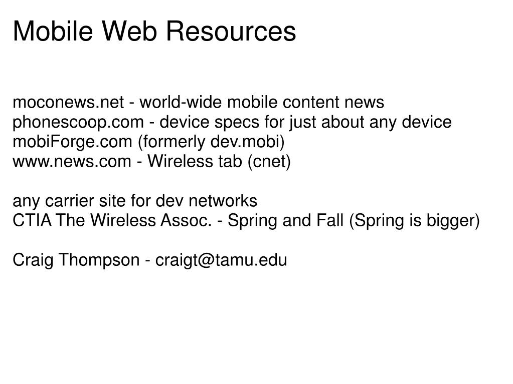 Mobile Web Resources