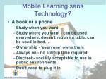 mobile learning sans technology