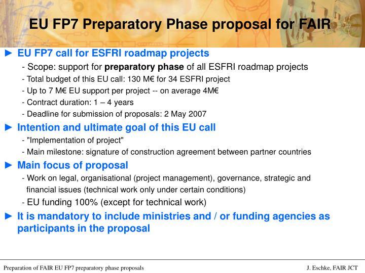 Eu fp7 preparatory phase proposal for fair