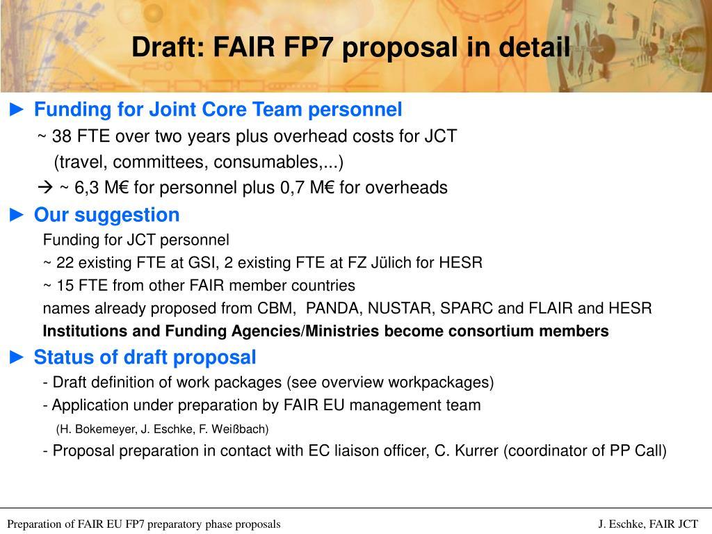 Draft: FAIR FP7 proposal in detail