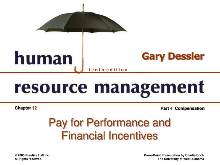 chapter 12 pay for performance and financial incentives