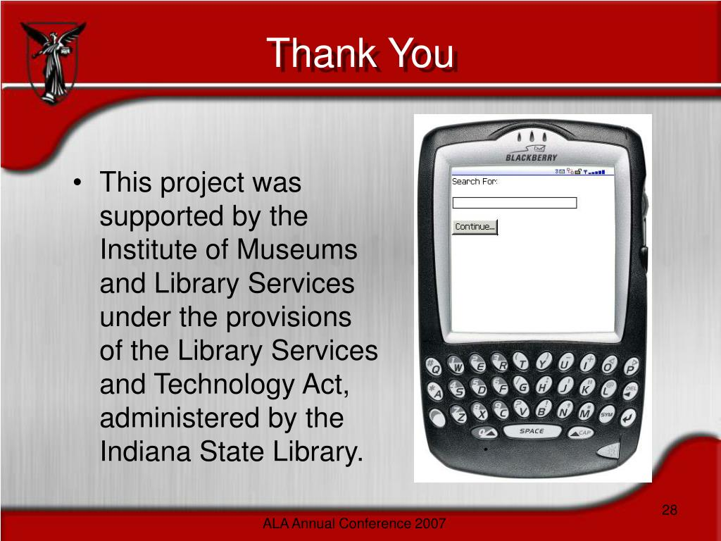 This project was supported by the Institute of Museums and Library Services under the provisions of the Library Services and Technology Act, administered by the Indiana State Library.