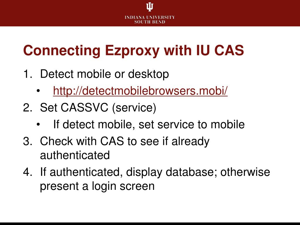 Connecting Ezproxy with IU CAS