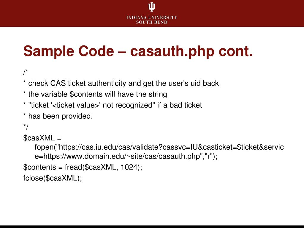 Sample Code – casauth.php cont.