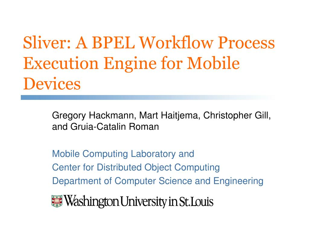 sliver a bpel workflow process execution engine for mobile devices l.