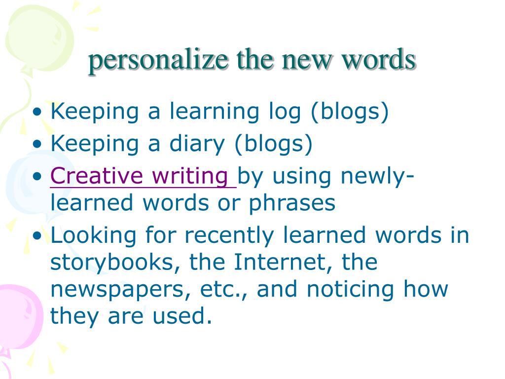 personalize the new words