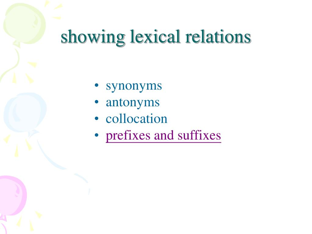 showing lexical relations