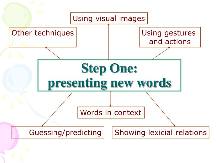 Step one presenting new words