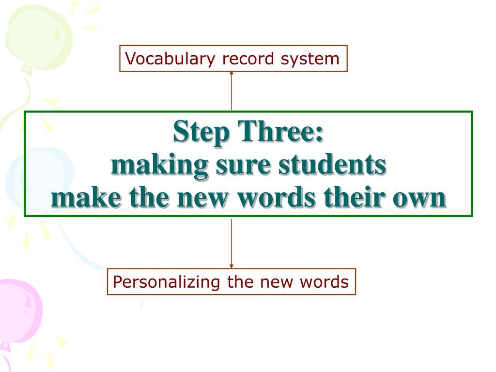 Vocabulary record system