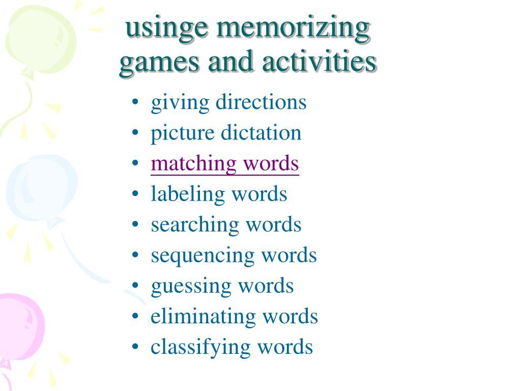 usinge memorizing