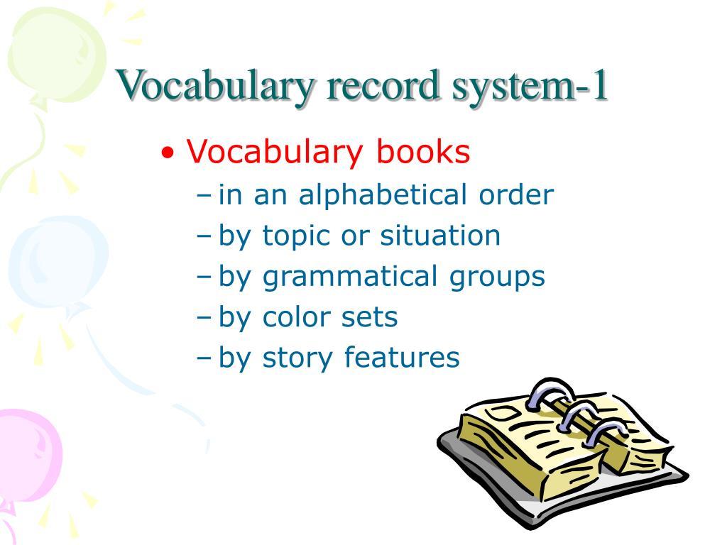 Vocabulary record system-1