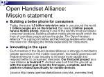 open handset alliance mission statement