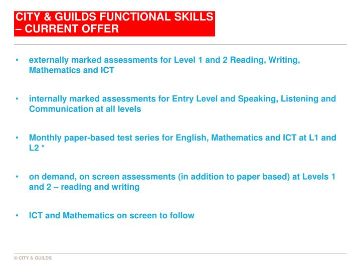 City guilds functional skills current offer