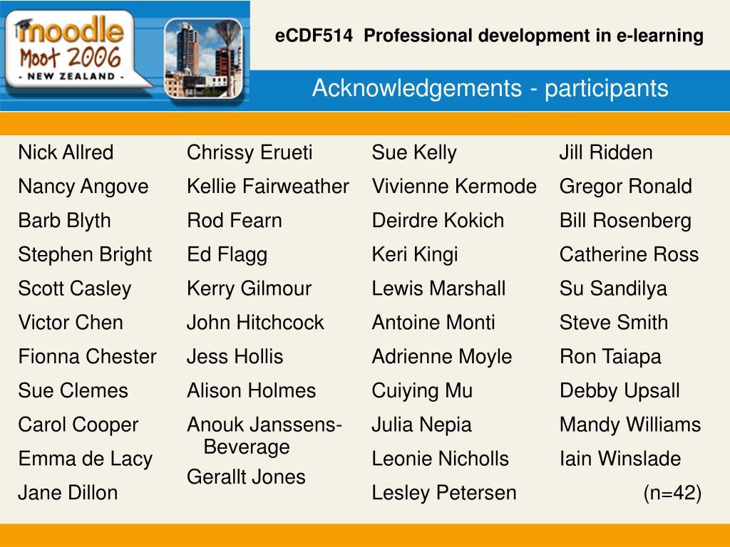 Acknowledgements - participants