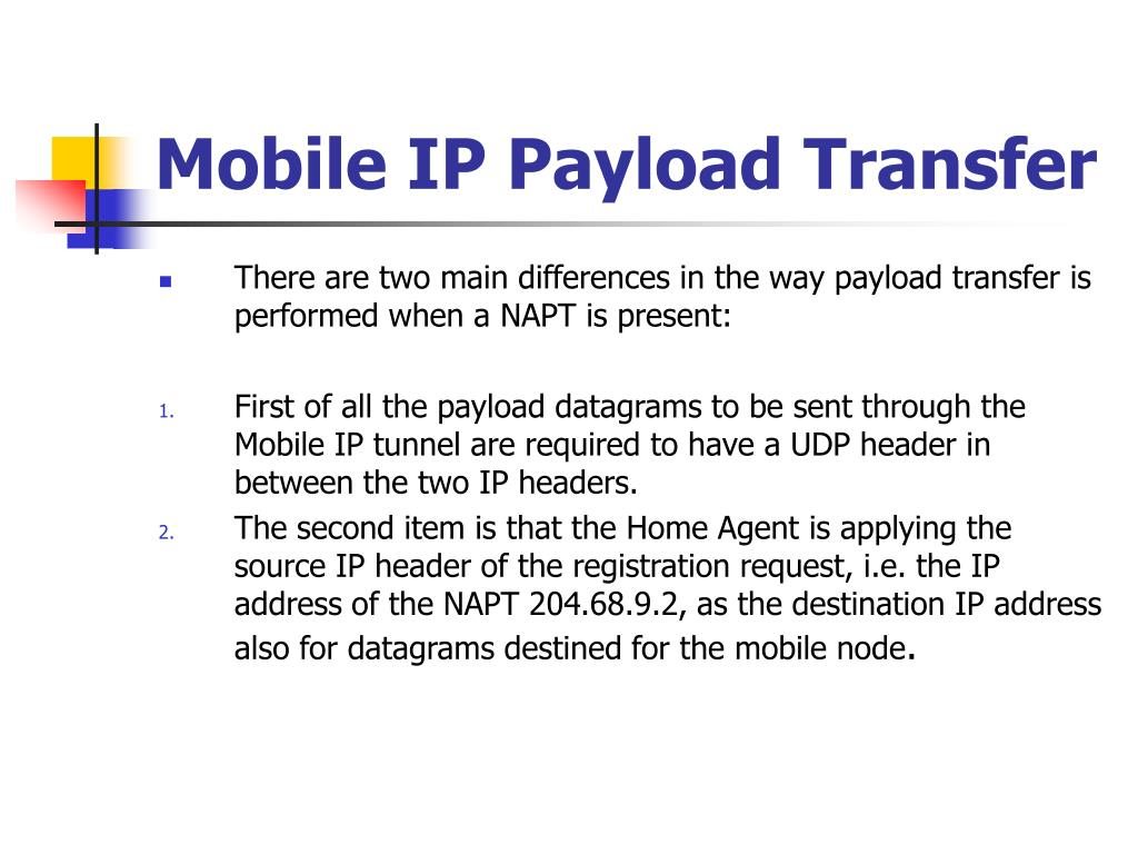 Mobile IP Payload Transfer