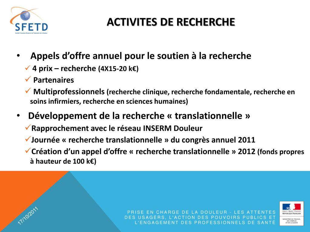 ACTIVITES DE RECHERCHE