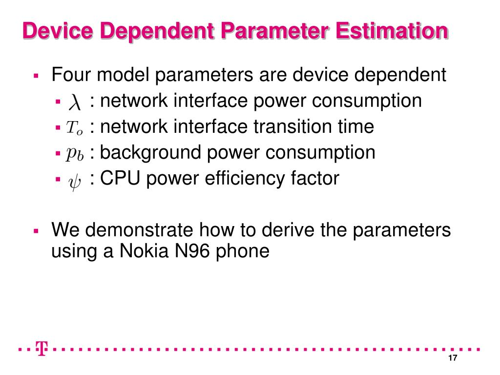 Four model parameters are device dependent